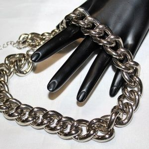 VTG Silver Large Chain Link Necklace NC9